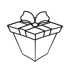 gift box ribbon wrapped linear vector image