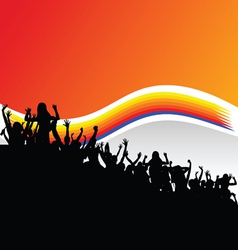 party people group in black silhouette vector image
