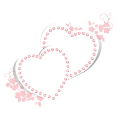 Pearl hearts with floral vector image vector image