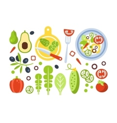 Salad Preparation Set Of Ingredients vector image vector image