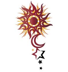 Sun moon stars vector image vector image