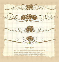 Vintage decorative ornaments with roses vector