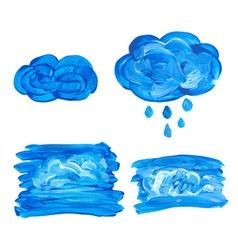 Watercolor cloud with drops vector