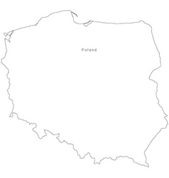 Black White Poland Outline Map vector image vector image
