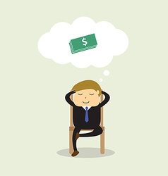 Businessman sitting on chair and thinking about do vector image vector image