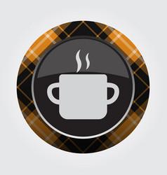 button orange black tartan cooking pot and smoke vector image vector image
