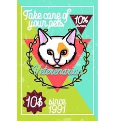 Color vintage veterinarian poster vector image vector image