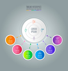 infographic design business concept with 6 options vector image vector image