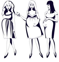 Set of black and white young pregnant women vector image