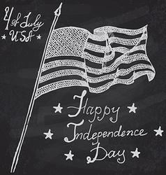 Usa waving flag American symbol forth of july Hand vector image vector image