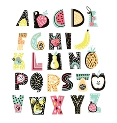 abstract alphabet fruit creative kids font great vector image