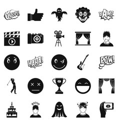 affective icons set simple style vector image