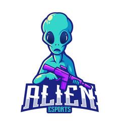 Alien esport mascot logo vector