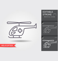 Ambulance helicopter linear medical symbols with vector