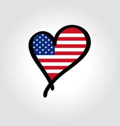 american flag heart-shaped hand drawn logo vector image