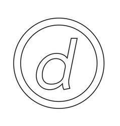 basic font letter d icon design vector image