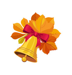 Bell with bow and leaves set of school and vector