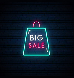 black friday neon signboard big sale sign vector image