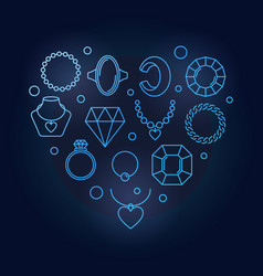 blue creative heart shape made of jewelry vector image