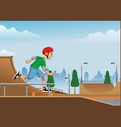 boy playing skateboard on skatepark vector image