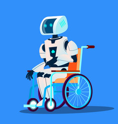 broken robot moving in wheelchair isolated vector image