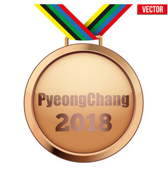Bronze medal with text pyeongchang 2018 vector