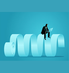 Businessman sitting on paper scroll using vector