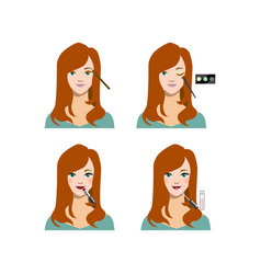 cartoon female long haircut makeup steps vector image
