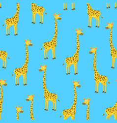 cartoon giraffe seamless pattern background vector image