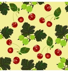 Cherry and gooseberry seamless pattern vector image