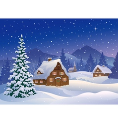 Christmas village at mountains vector image