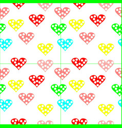 colorful heart with poka dots with pink background vector image