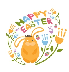 Concept Happy Easter with flowersbunny and eggs vector image