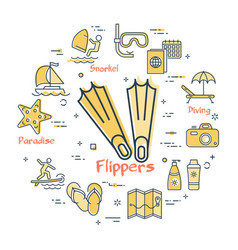 concept of summer time with flippers icon vector image