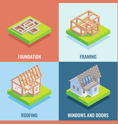 Cottage construction flat isometric poster vector