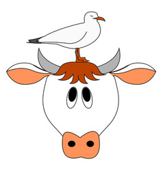 cow and bird on white background vector image