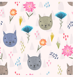 cute cartoon pattern with cats heads and flowers vector image