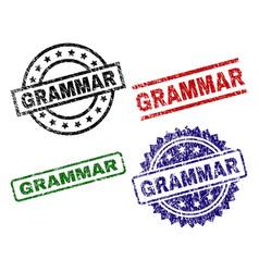 Damaged textured grammar seal stamps vector