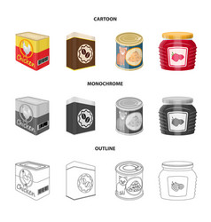 Design of can and food logo collection of vector