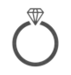 diamond ring halftone dotted icon vector image