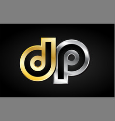 Dp gold silver letter joint logo icon alphabet vector