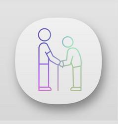 elderly people help app icon assistance program vector image