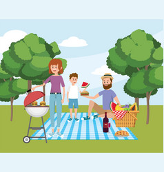 family together with fun picnic recreation vector image