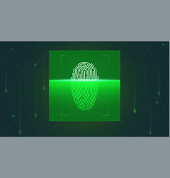 fingerprint scan on screen in digital matrix vector image