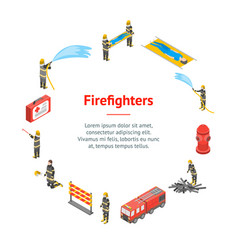 firefighter and building on fire concept banner vector image