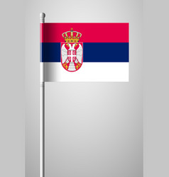 Flag of serbia national flag on flagpole vector