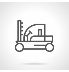 Fork lift loader black line icon vector