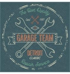 Garage service vintage label tee design Detroit vector image