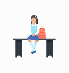 girl with bag sitting on bench vector image