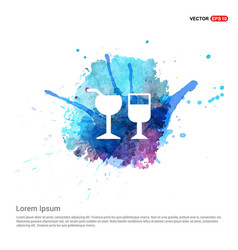 Glass of drink icon - watercolor background vector